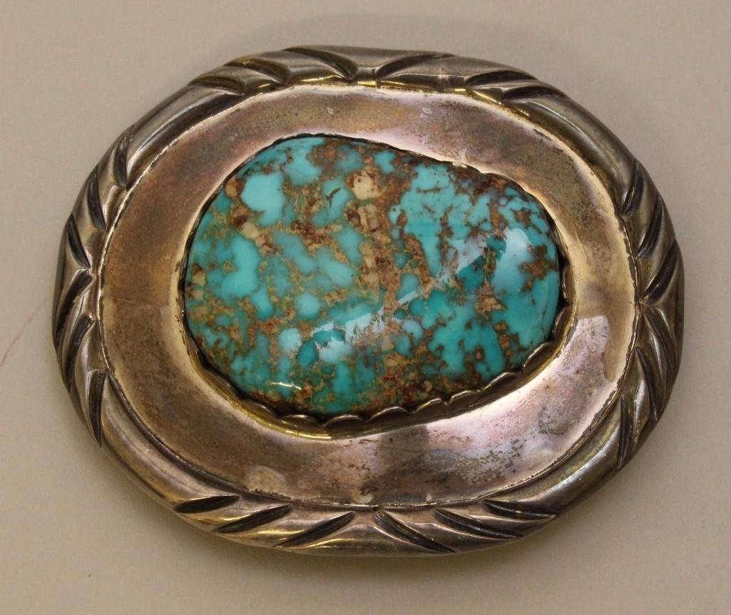 Sterling Silver Bolo Tie and Buckle with Turquoise - 2