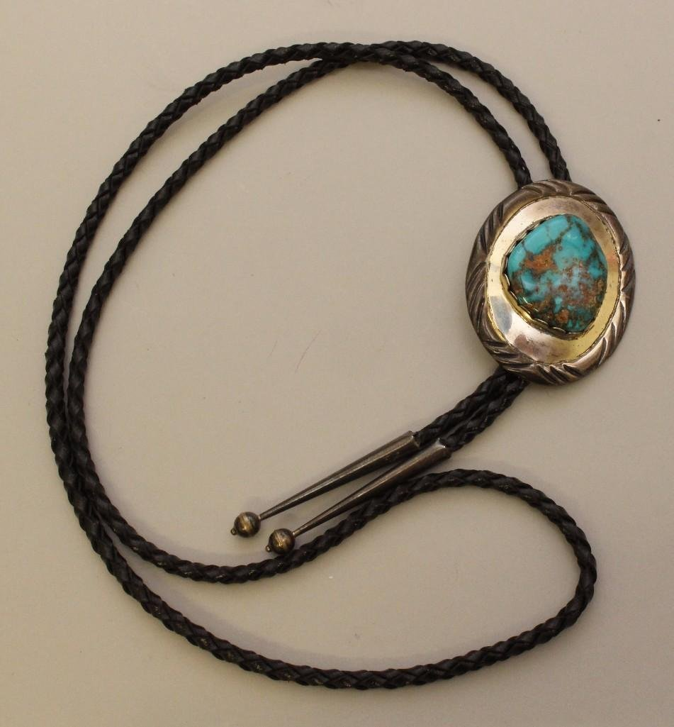 Sterling Silver Bolo Tie and Buckle with Turquoise - 4