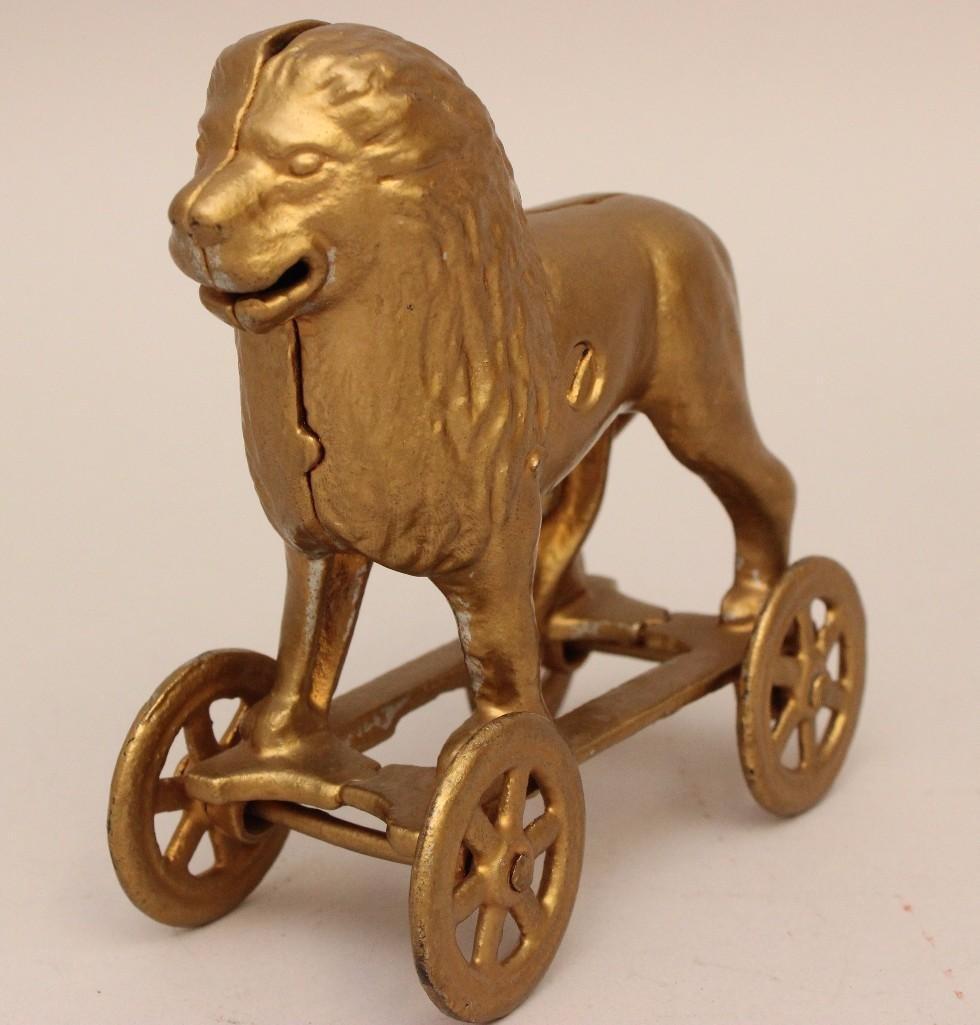Still Bank Lion on Rolling Cart