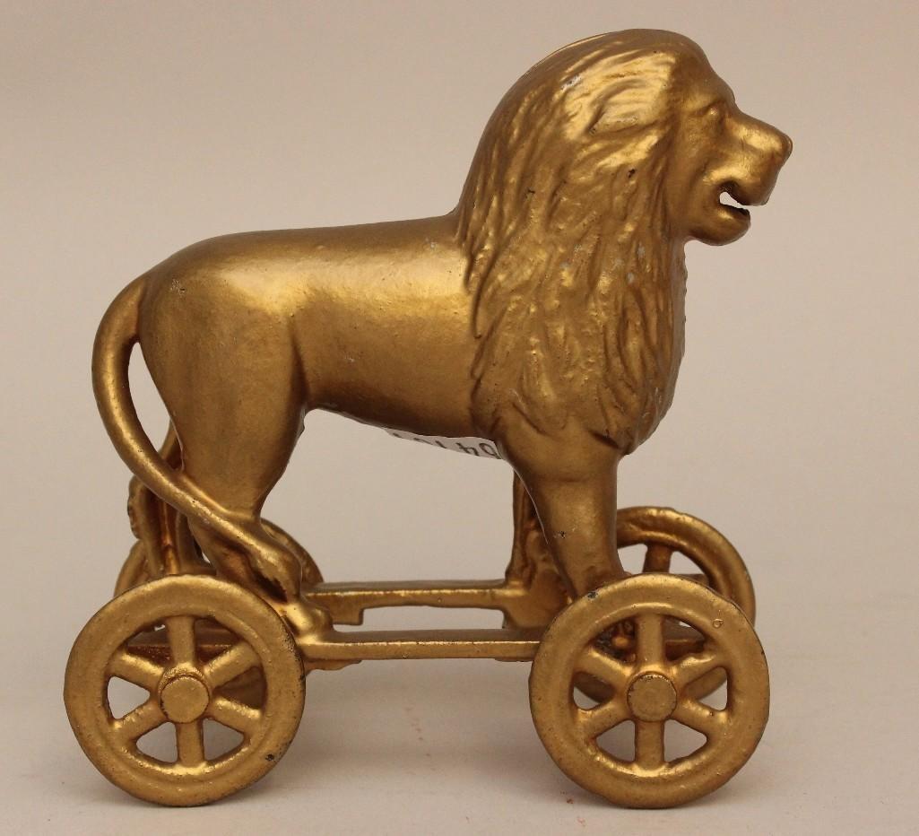 Still Bank Lion on Rolling Cart - 2