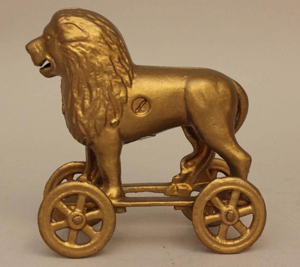 Still Bank Lion on Rolling Cart - 3