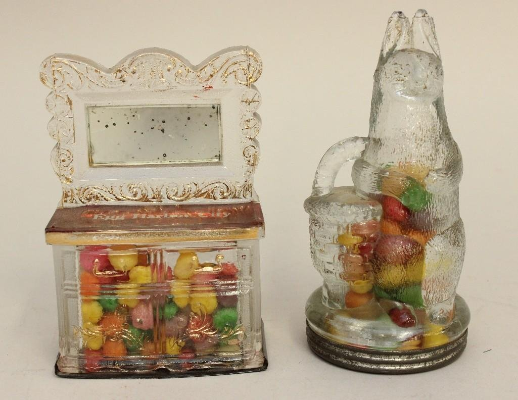 Lot of 2 Glass Candy Containers