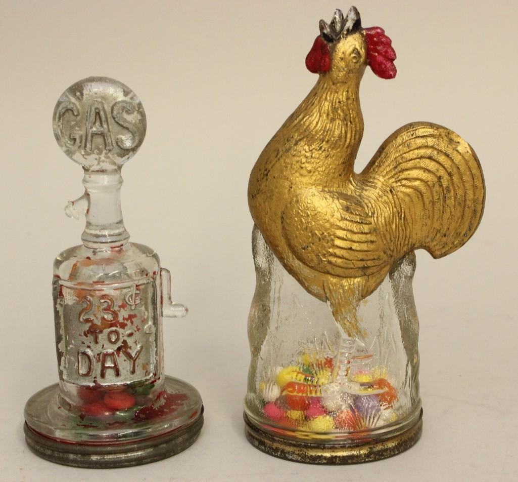 Lot of 2 Glass Candy Containers, Gas Pump and Rooster
