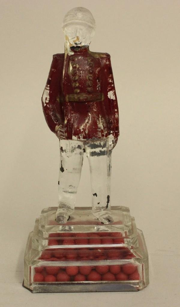 Glass Candy Container Soldier
