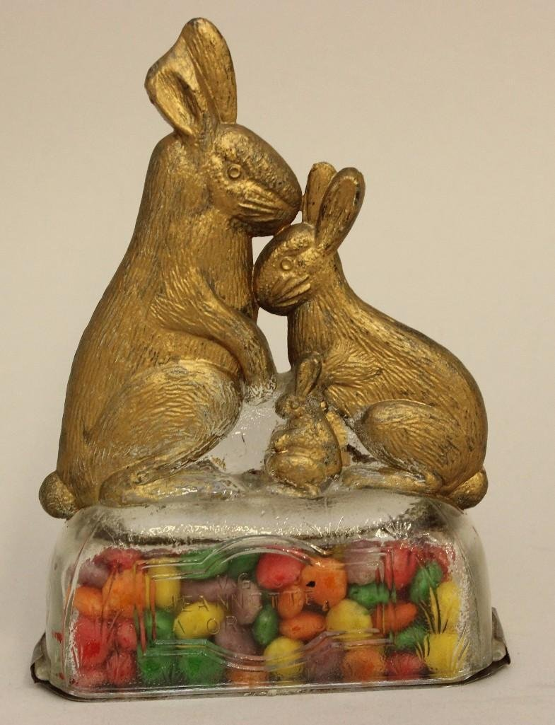 Lot of 3 Glass Rabbit Candy Containers