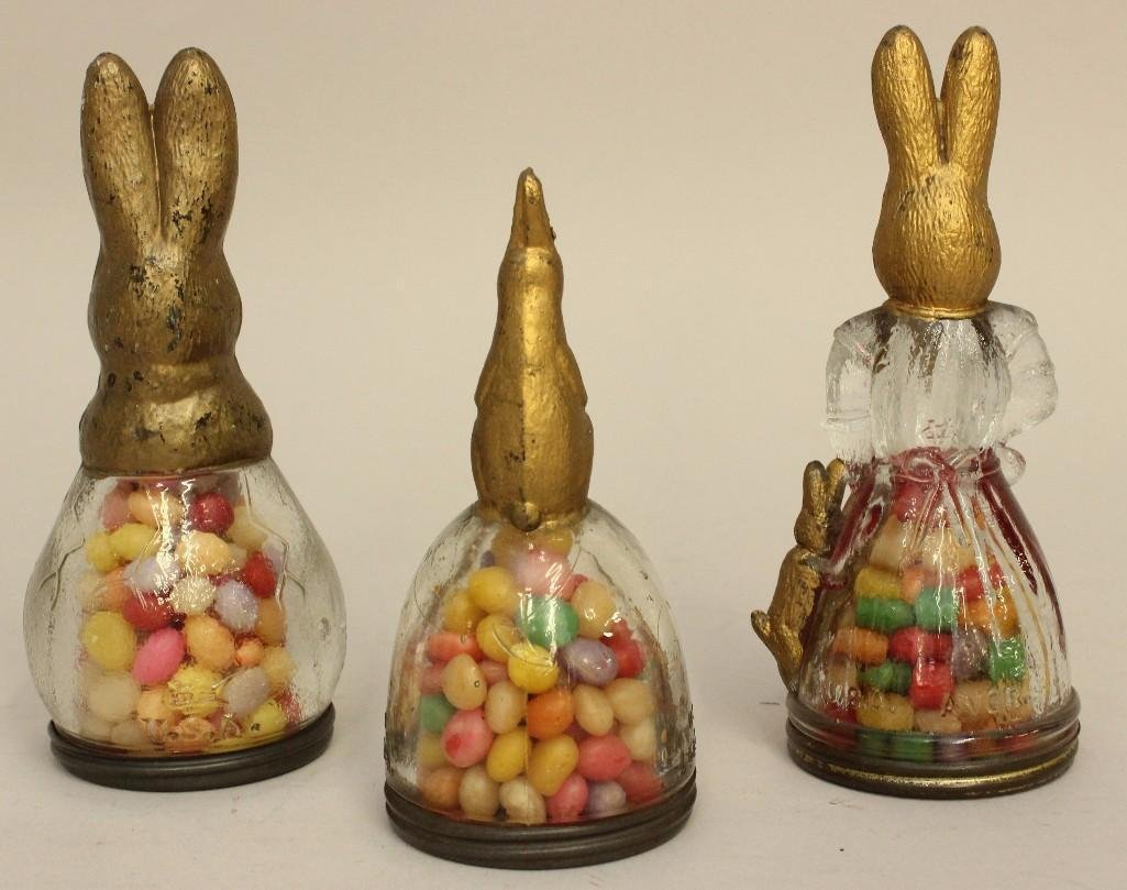 Lot of 3 Glass Rabbit Candy Containers - 2
