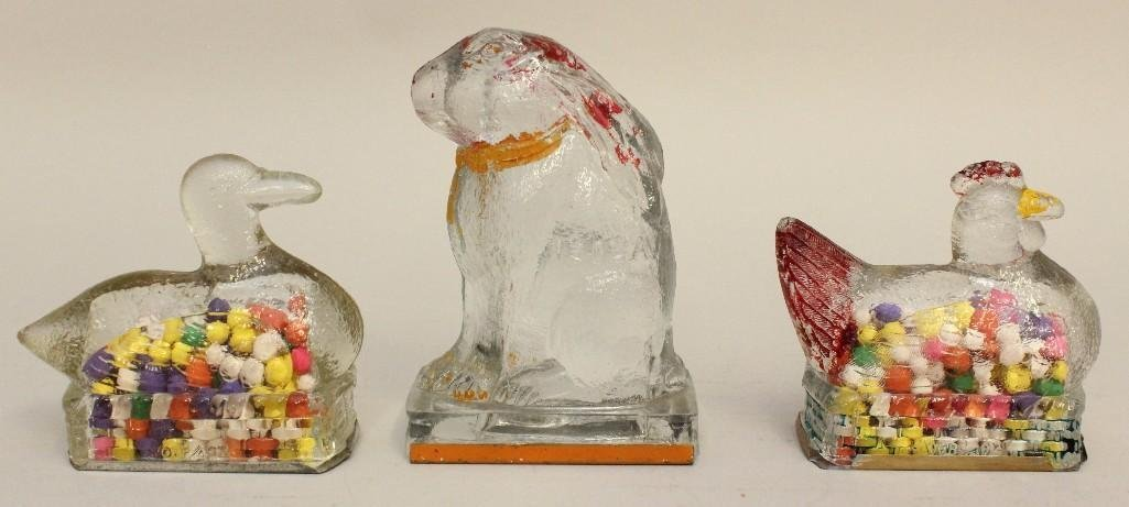 Lot of 3 Glass Candy Containers