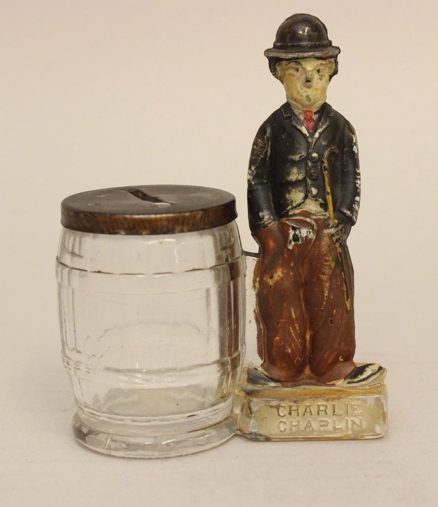 Charlie Chaplin Glass Candy Container
