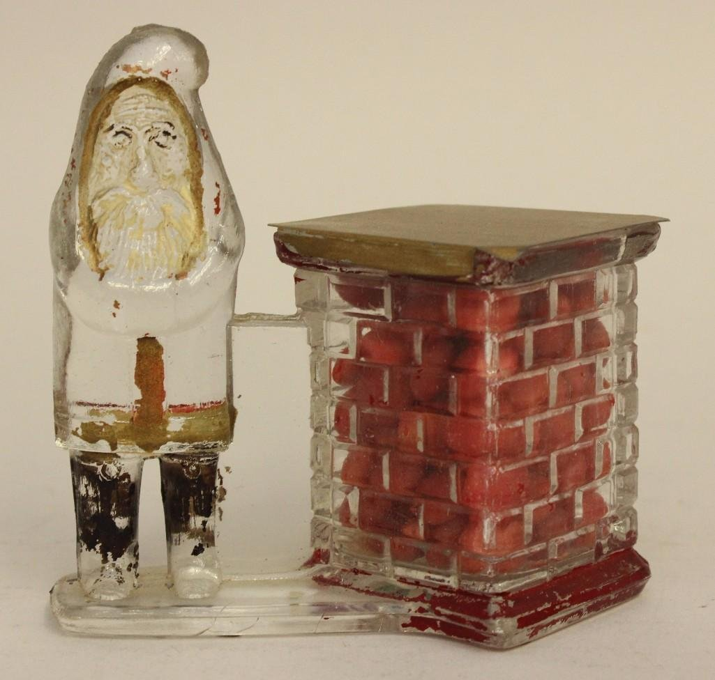 Glass Candy Container of Santa and Chimney