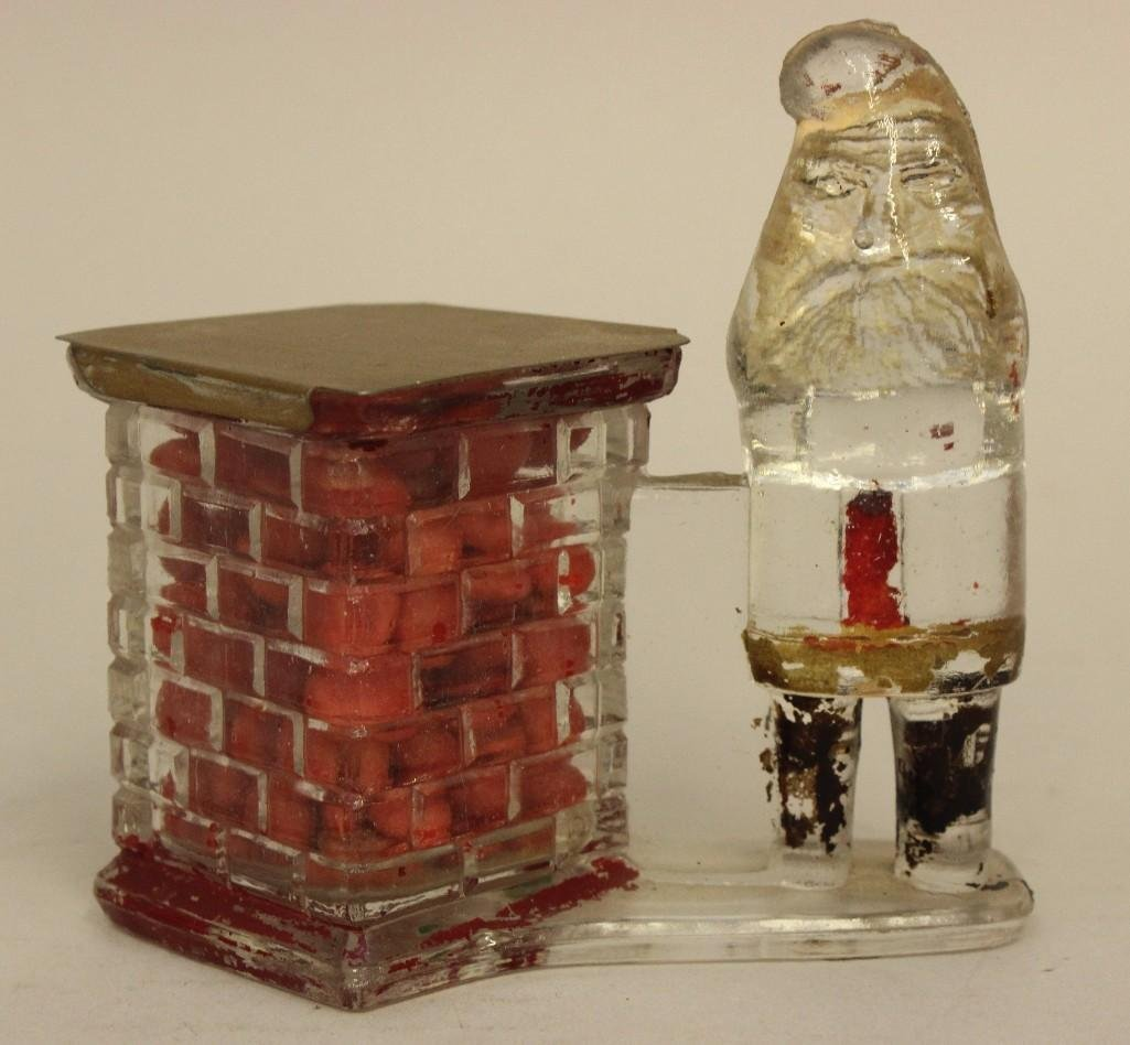 Glass Candy Container of Santa and Chimney - 2
