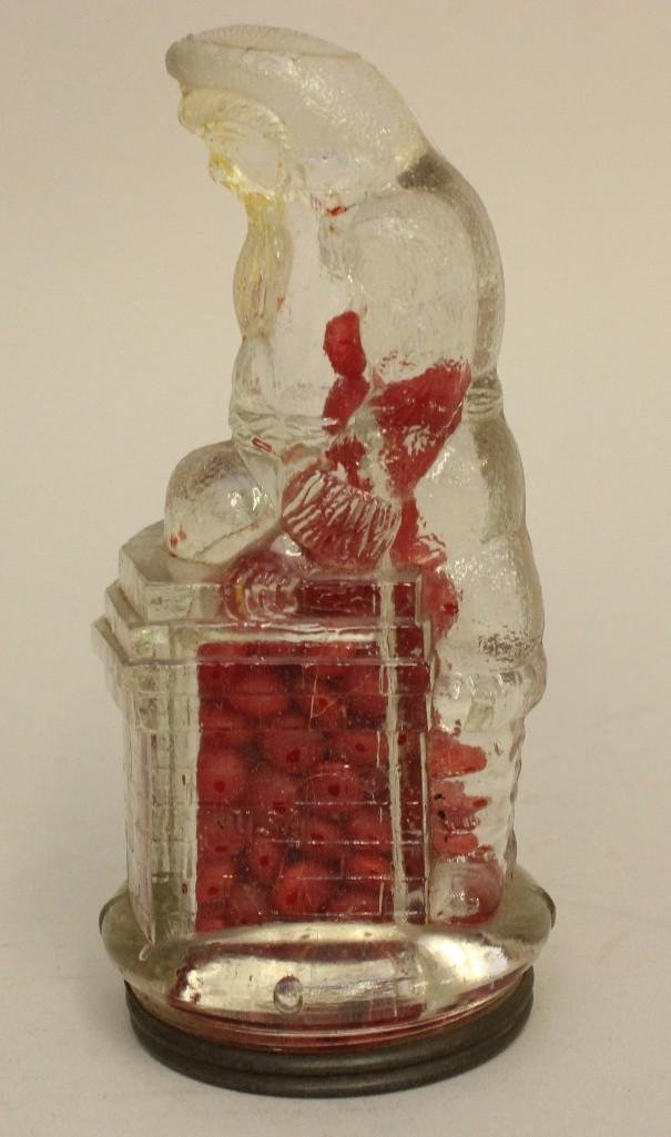 Glass Candy Container of Santa on Chimney