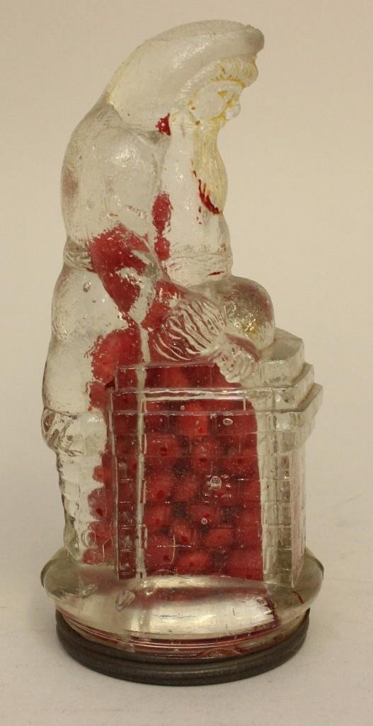 Glass Candy Container of Santa on Chimney - 2