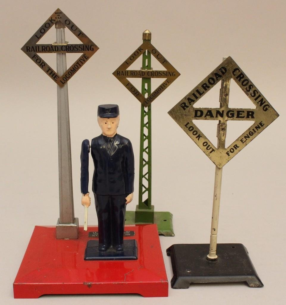 Lot of Lionel 1 Flagman and 2 Crossing Signs