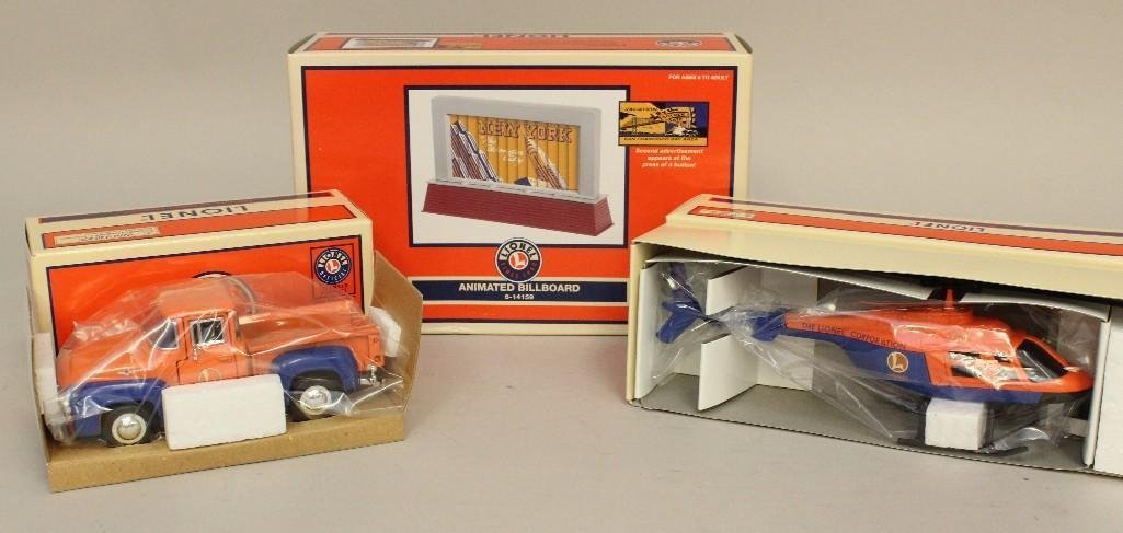3 Piece Lot Lionel Animated Billboard, Truck,