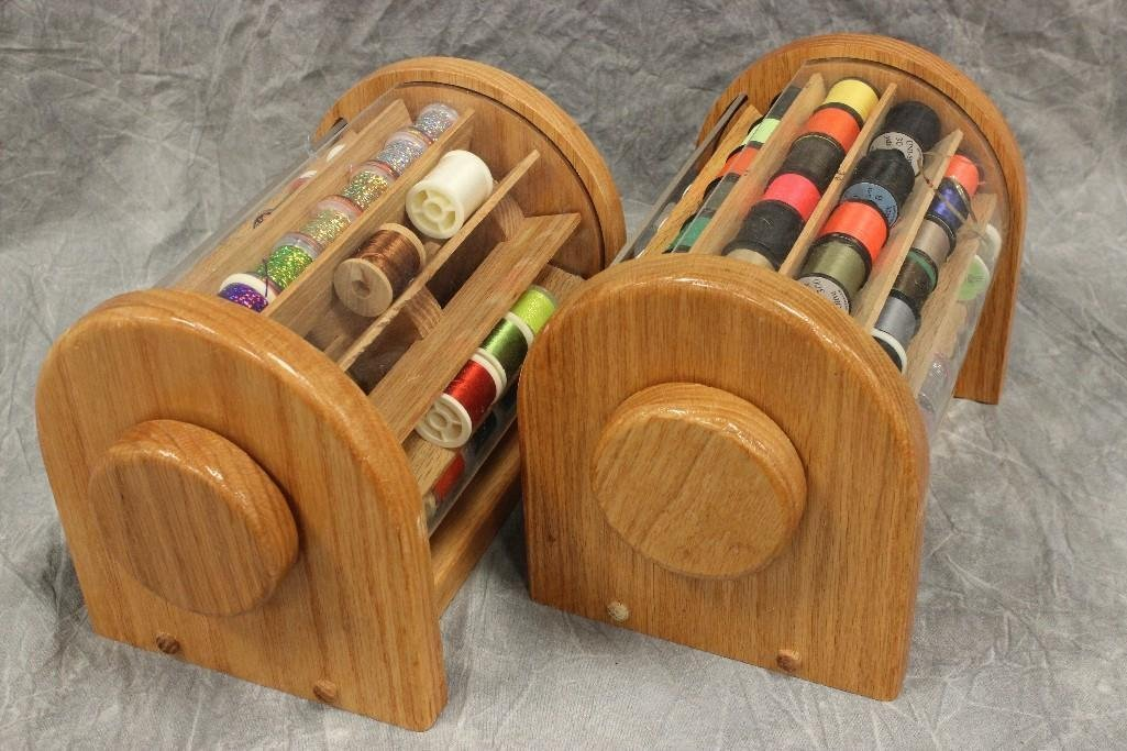 (2) Custom Wood Rotating Fly Tying Thread Containers