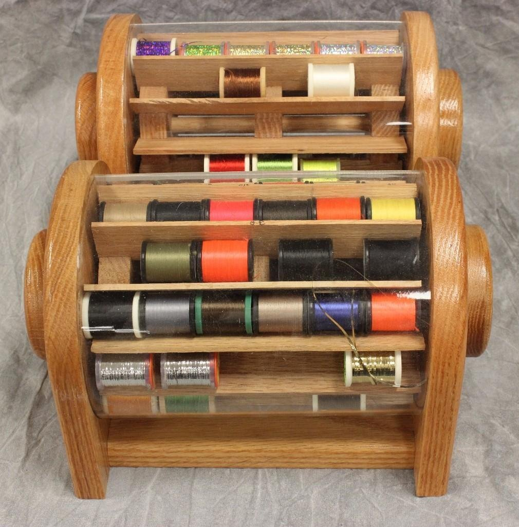(2) Custom Wood Rotating Fly Tying Thread Containers - 2