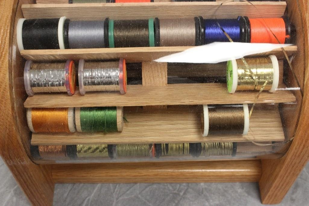 (2) Custom Wood Rotating Fly Tying Thread Containers - 3