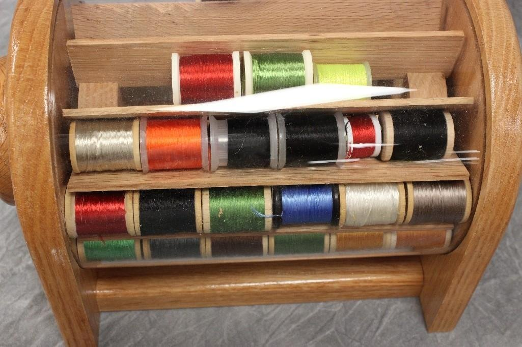 (2) Custom Wood Rotating Fly Tying Thread Containers - 4