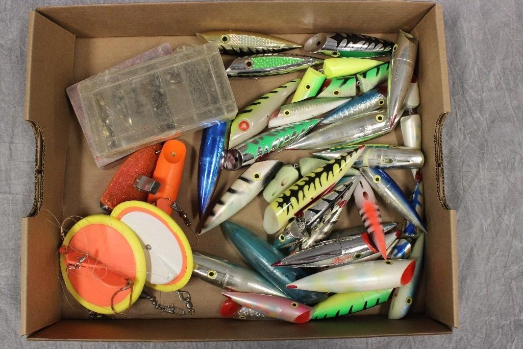(2) Boxes of Various Saltwater Poppers