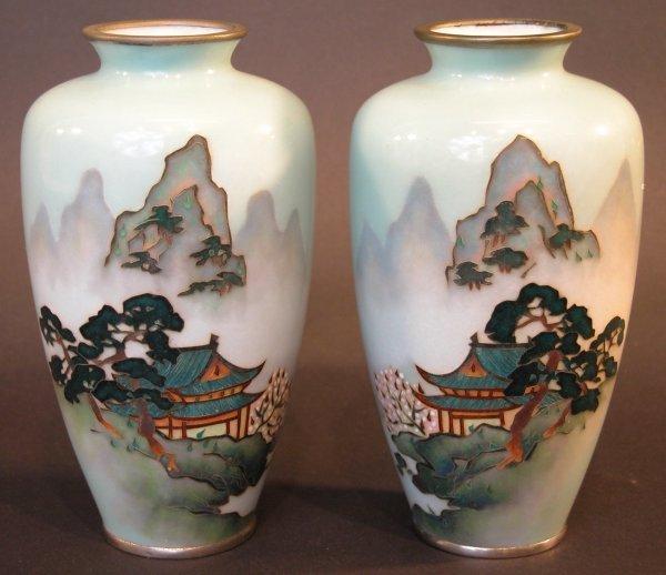 2: Pair of Cloisonné Vases.
