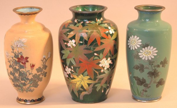 3: Three Cloisonné Vases.