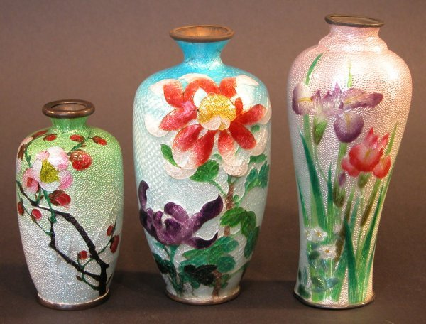 18: Three Cloisonné Vases.