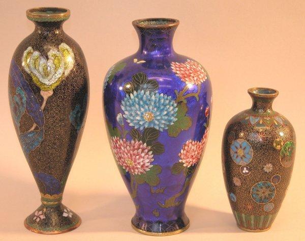 21: Three Cloisonné Vases.