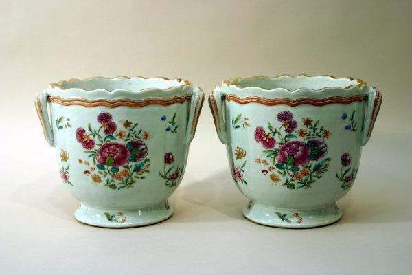 84: Pair of Porcelain Cachepots.
