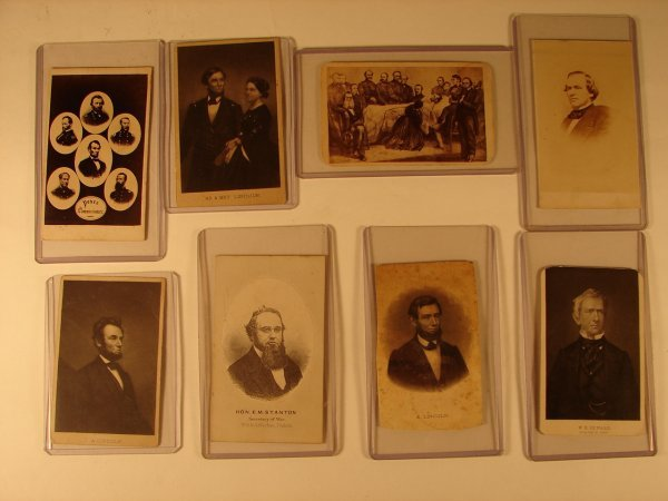 511: GROUPING OF 8 CDV ENGRAVINGS RELATED TO LINCOLN
