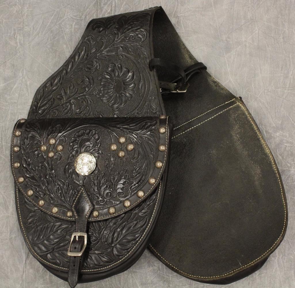 Black Leather Horse Saddle Bag