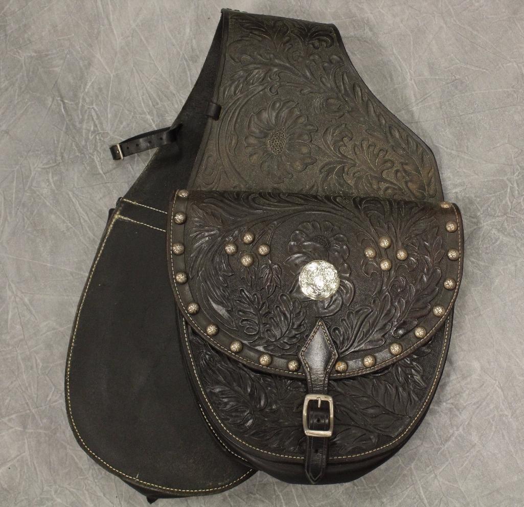 Black Leather Horse Saddle Bag - 2