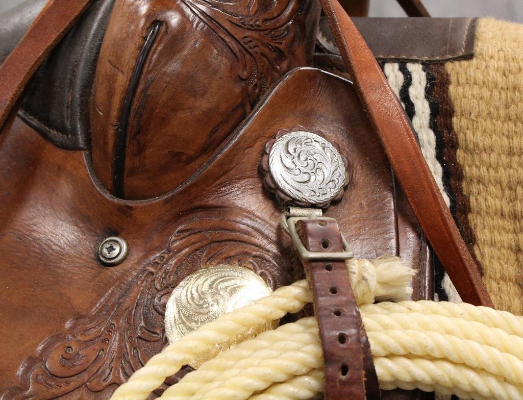 """Brown Circle Y Roping 16"""" Saddle - 4"""