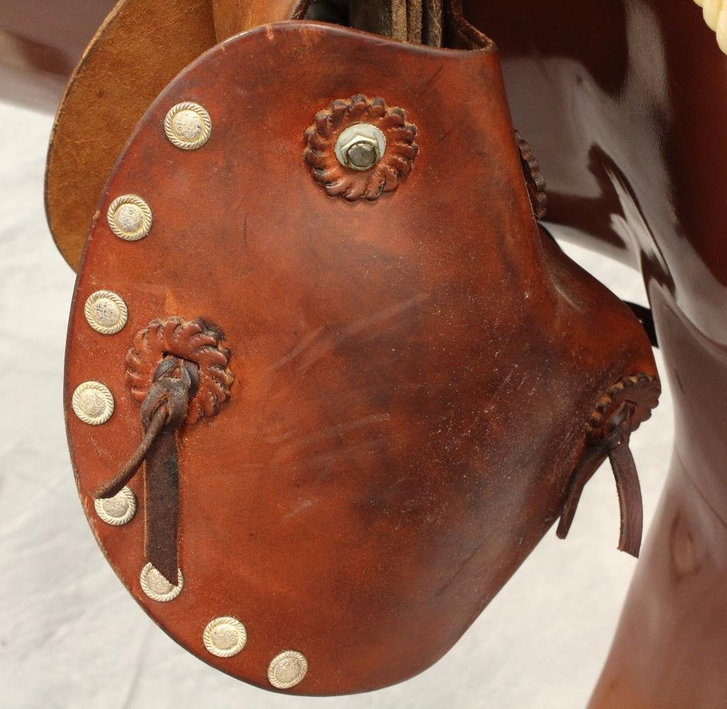"""Brown Circle Y Roping 16"""" Saddle - 5"""