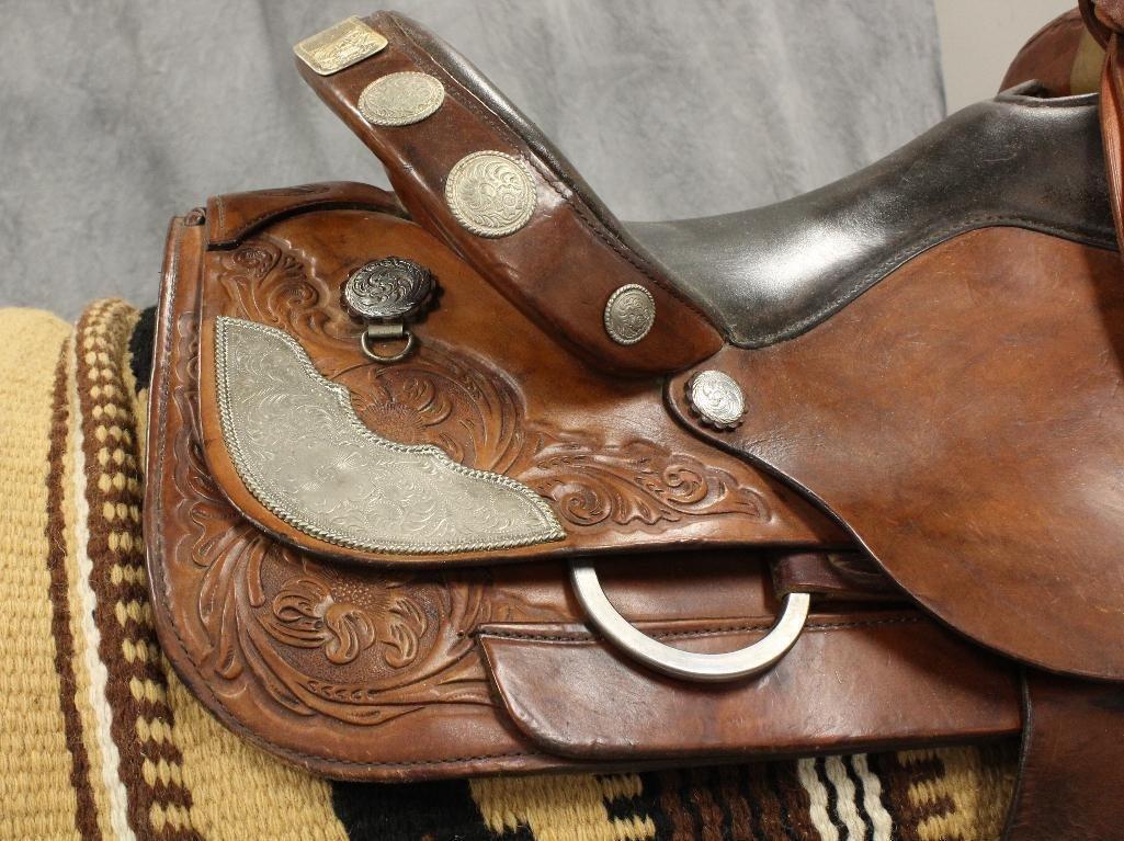 """Brown Circle Y Roping 16"""" Saddle - 6"""