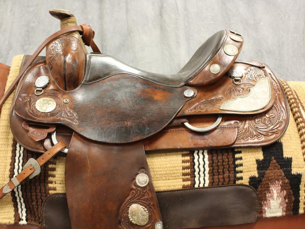 """Brown Circle Y Roping 16"""" Saddle - 8"""
