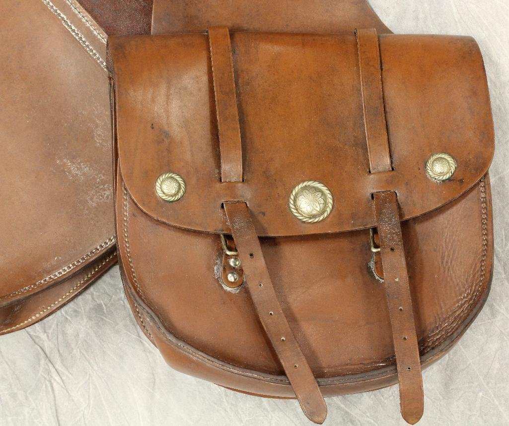 Brown Leather Saddle Bags - 2
