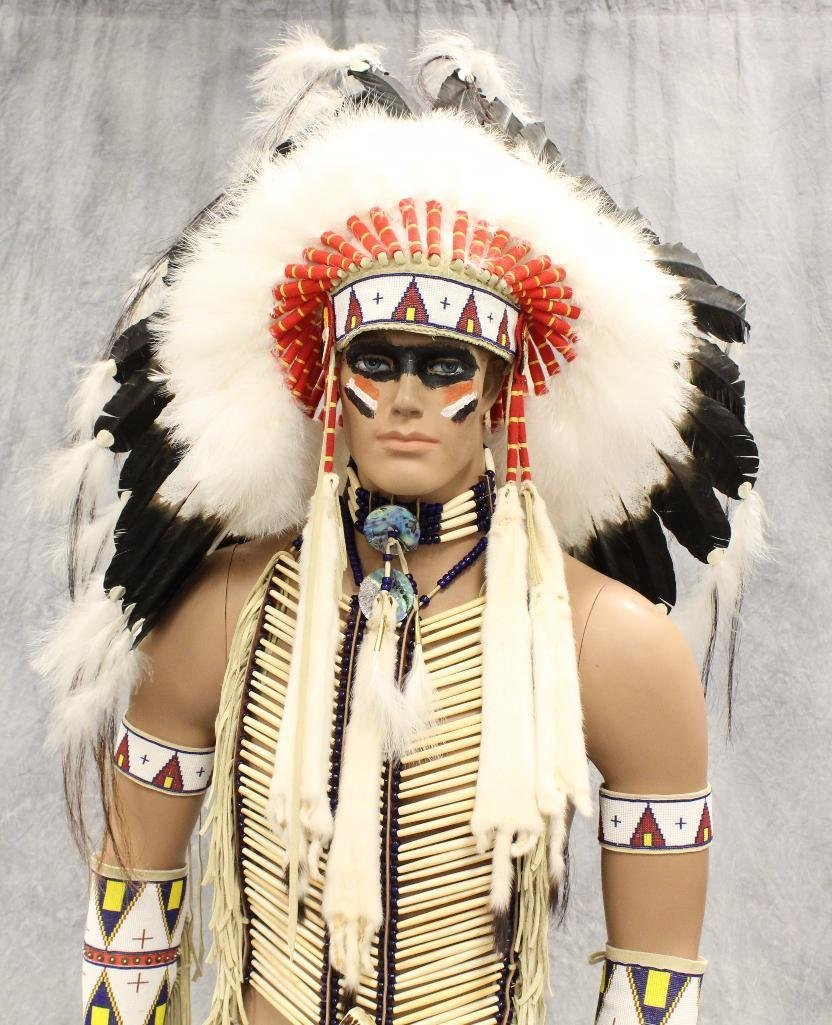 Indian War Chief Mannequin  Dressed in Tecumseh's