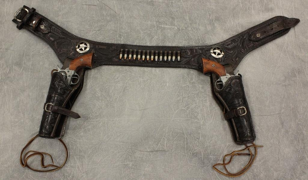 Double Black Buscadero Leather Holster and Two Replica