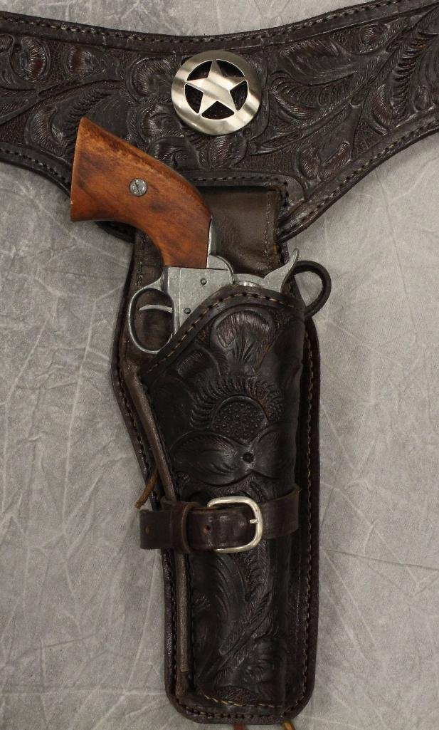 Double Black Buscadero Leather Holster and Two Replica - 4