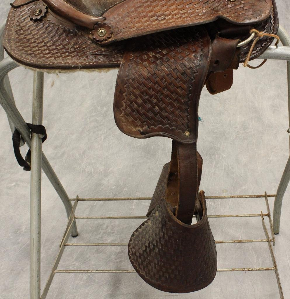 "Pony 12"" Brown Leather Saddle - 3"