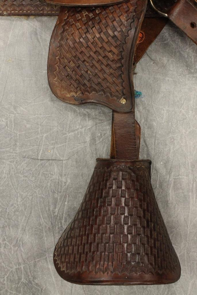 "Pony 12"" Brown Leather Saddle - 4"