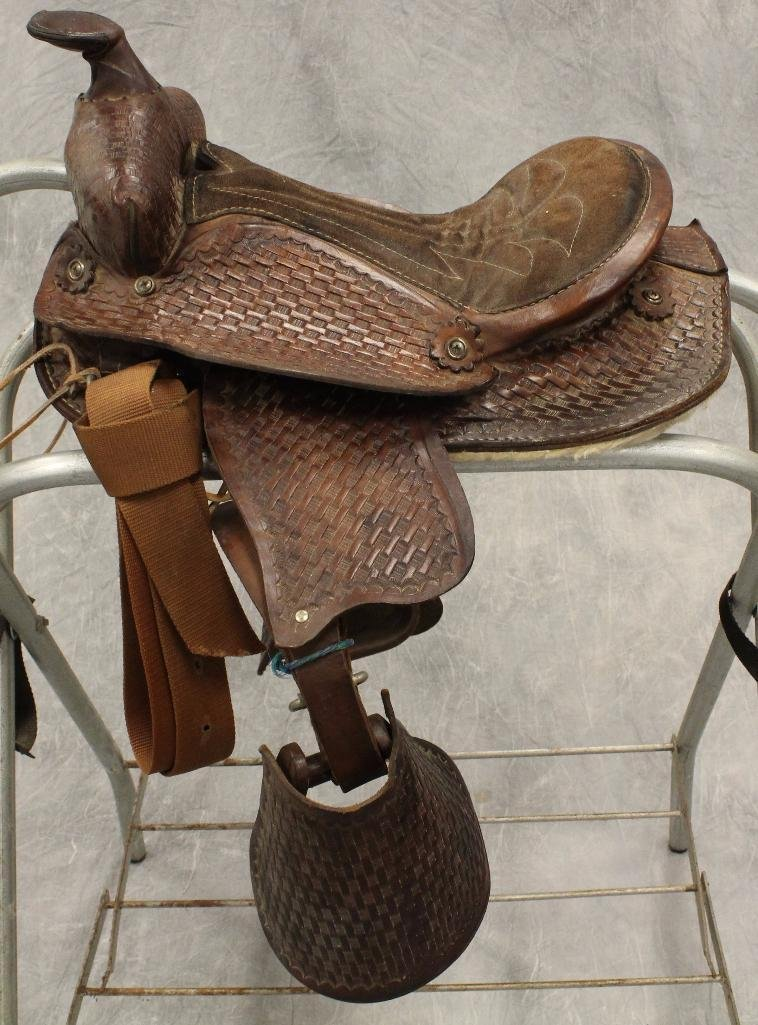 "Pony 12"" Brown Leather Saddle - 6"