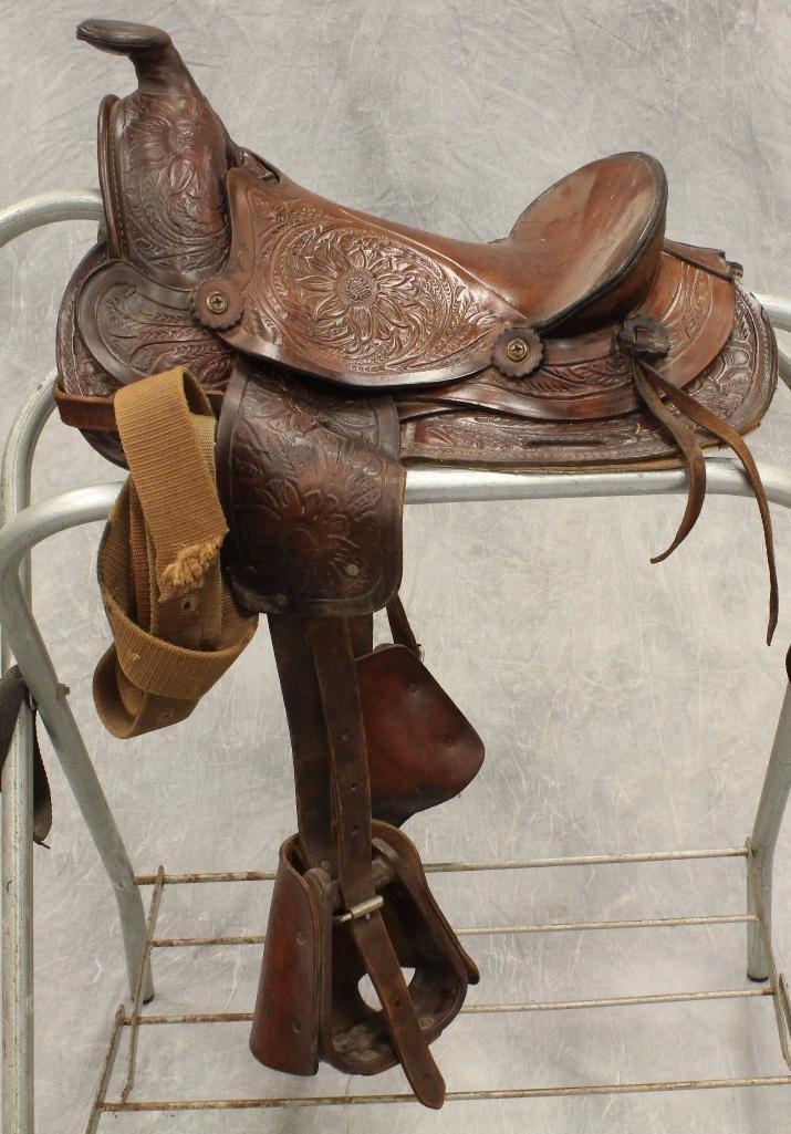 "Pony 12"" Brown Leather Saddle - 2"
