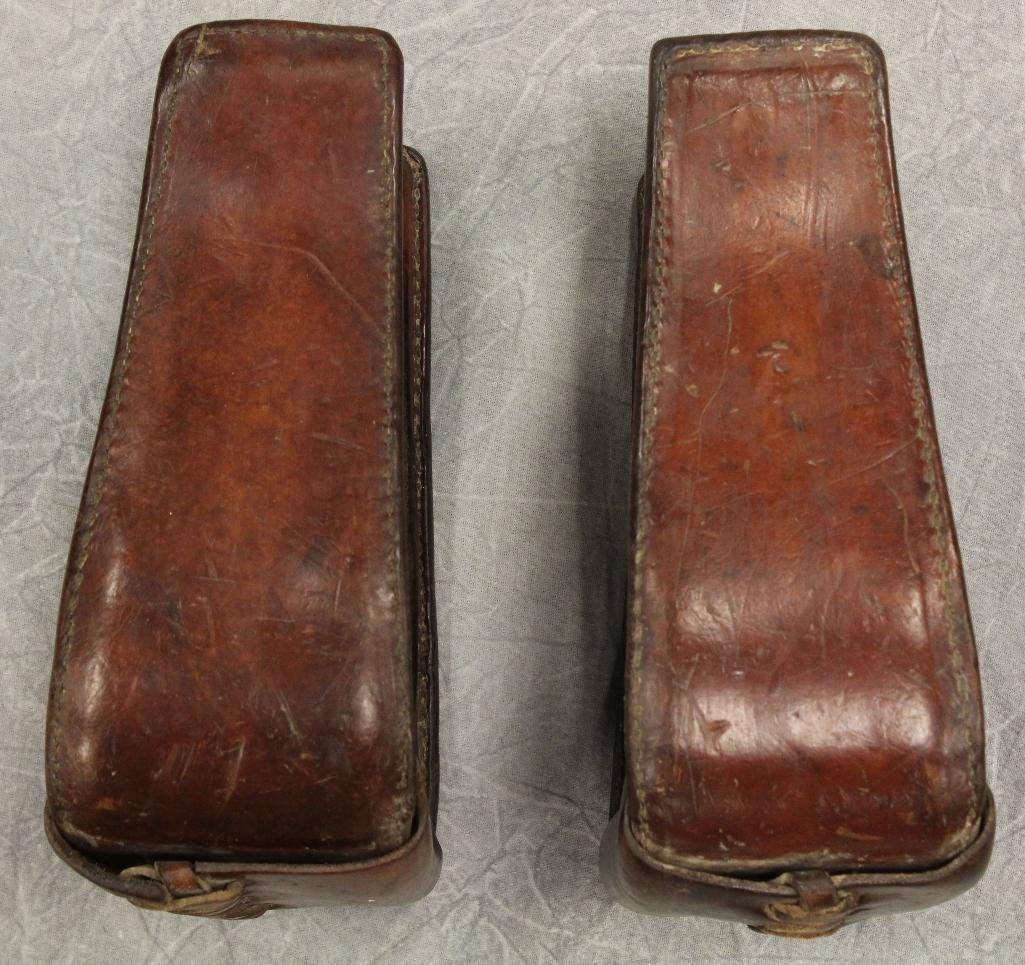Pair of Brown Leather Stirrups - 2