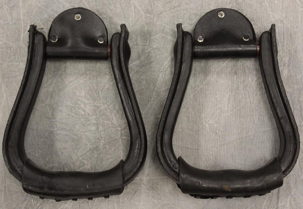 Pair of Black Leather Stirrups