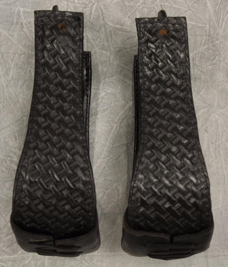 Pair of Black Leather Stirrups - 2
