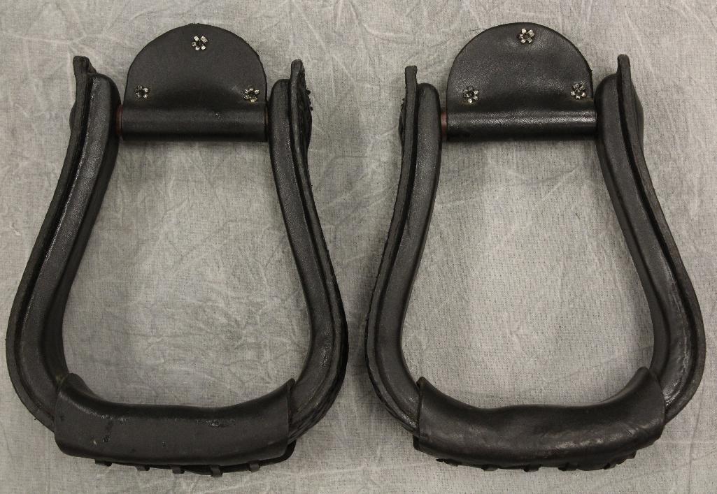 Pair of Black Leather Stirrups - 3