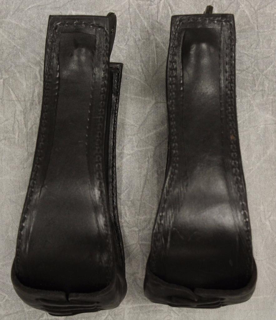 Pair of Black Leather Stirrups - 4