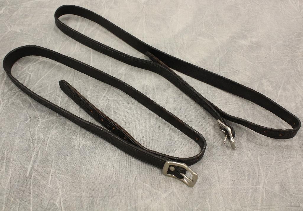 Two Carved Black Saddle Bag Straps