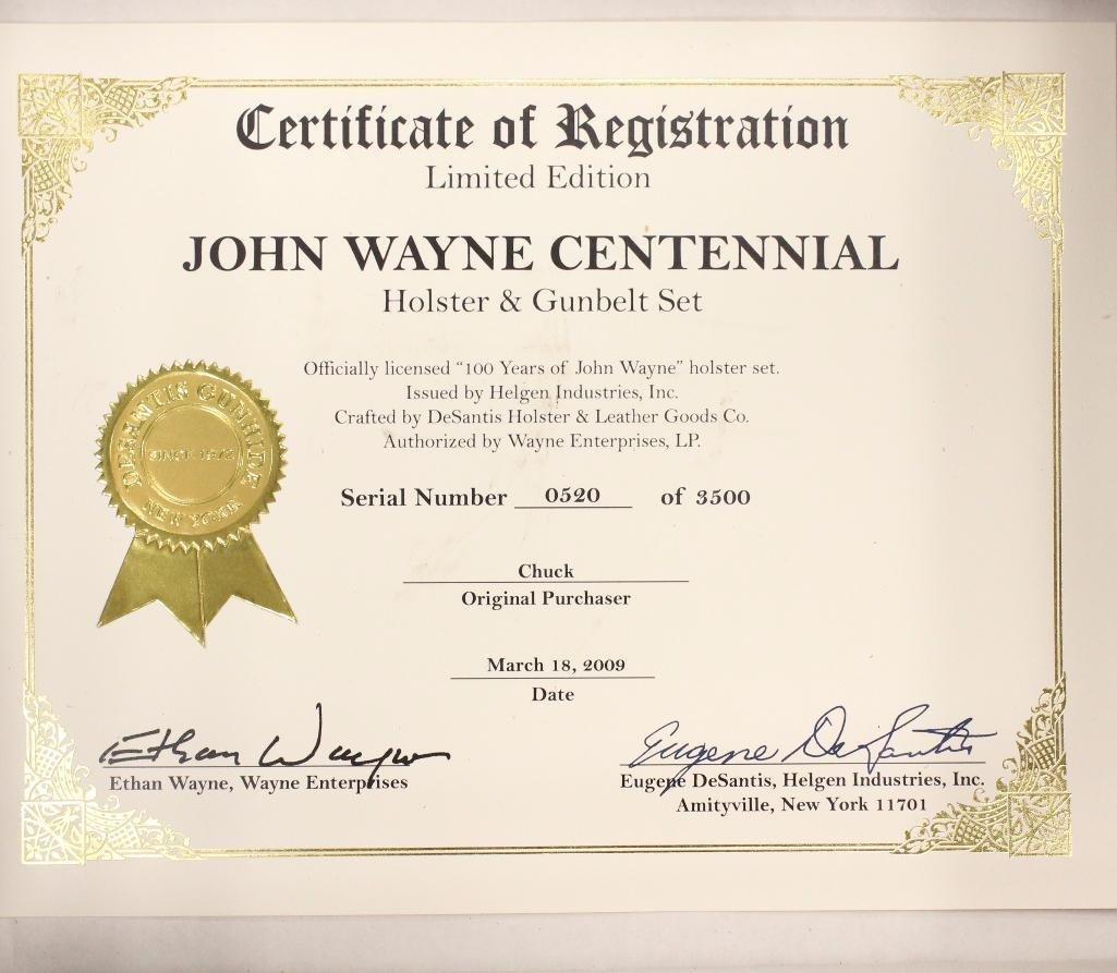 "John Wayne ""100 Years"" Single Holster Gun Belt - 3"